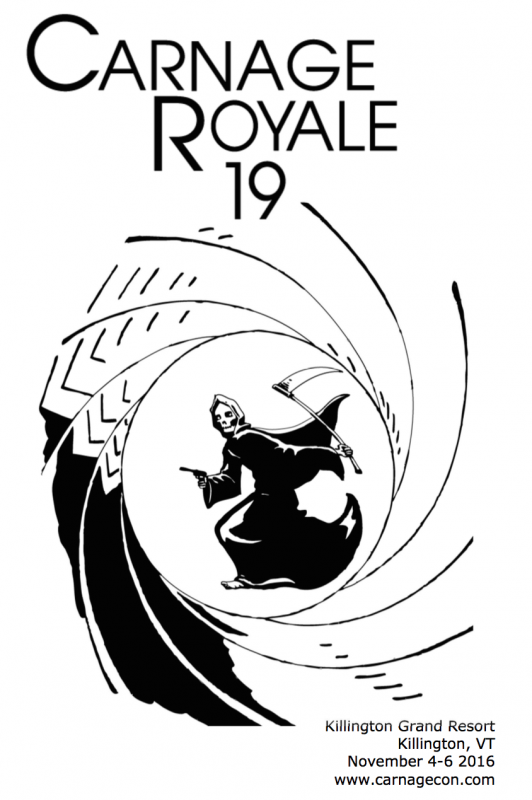 Cover of the Carnage Royale convention book. The grim reaper is sighted down the barrel of a gun, holding a pistol in its hand.