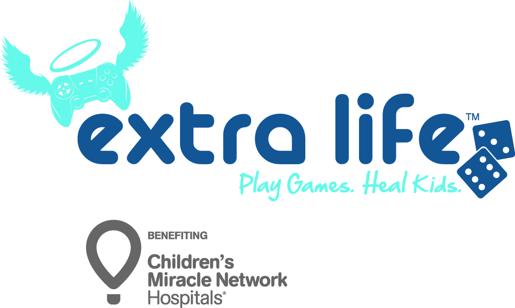"Extra Life charity logo. Slogan: ""Play games. Heal kids."" Benefiting Children's Miracle Network Hospitals."