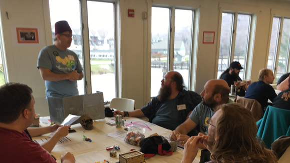Sean Murphy runs a role-playing session as part of Extra Life charity fundraising.