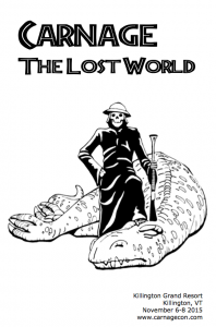 Carnage of the Lost World convention book cover: Death, wielding an elephant gun, stands with one foot on the neck of a dead tyrannosaurus.